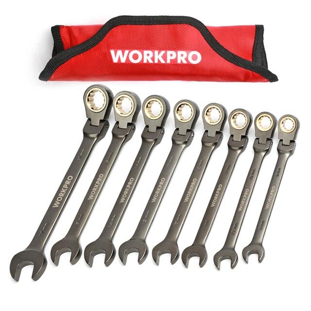 dcd9f174f WORKPRO 8 Unid piezas llaves Flex-head trinquete conjunto de llaves de  combinación métrica