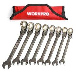 WORKPRO Juego de llaves de 8 piezas, combinación de trinquete de cabeza flexible, llaves métricas/SAE, juego de llaves de trinquete, herramientas de reparación de automóviles