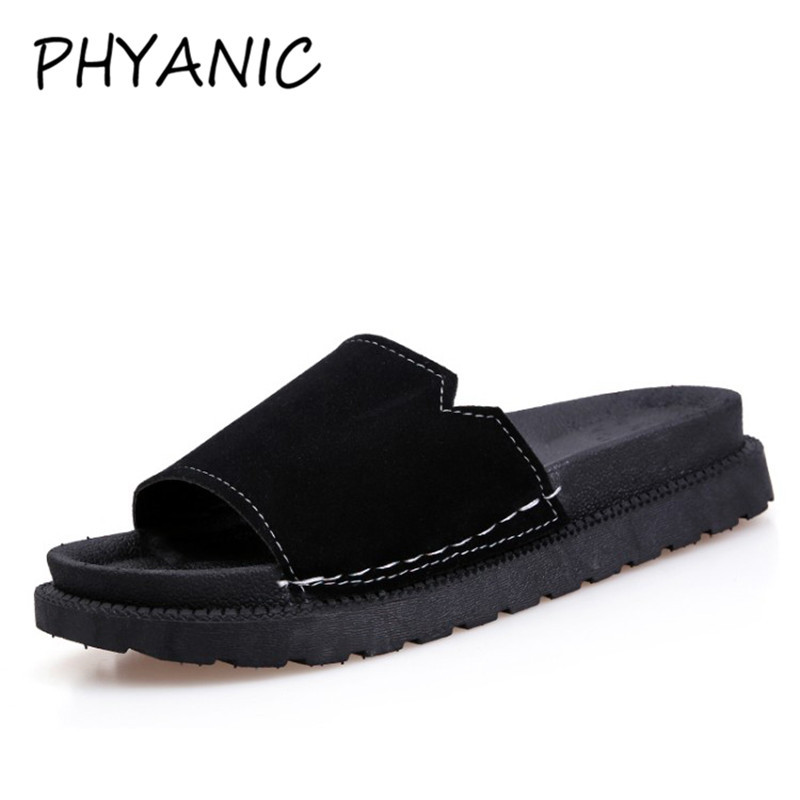 PHYANIC 2018 Summer Fashion Slippers Shoes Women Flat Suede Leather Sandals Ladies Slides Mid Platform Heels Mules Shoes PHY3252 2016 summer patent leather buckle slides for women fashion stone upper flat platform ladies casual beach slippers sandals shoes