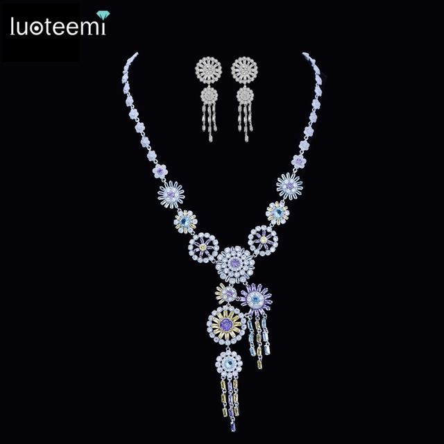 LUOTEEMI New Luxurious Jewelry Long Tassel Round Pendant Clear Multi CZ Crystal White Gold Plated Necklace for Women Wedding