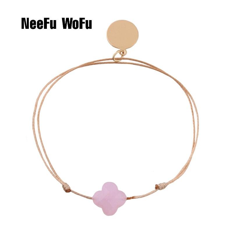 NeeFuWoFu banda pulseras de piedra natural cuerda Bohemia de Madera Pulseira Estrela de Cinco Pontas pulsera ajustable Perles