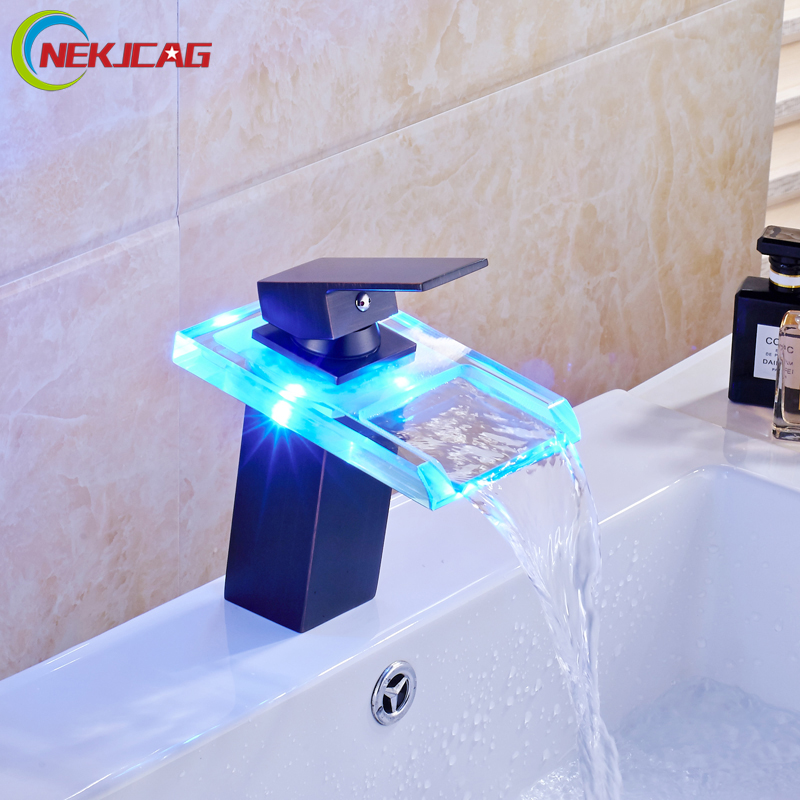 ФОТО Oil Rubbed Bronze LED Light Bathroom Waterfall Basin Faucet Single Lever Lavatory Vanity Sink Mixer Taps
