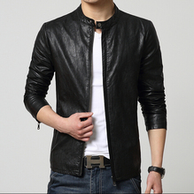 Spring autumn New casual slim men's clothing fashion short design outerwear stand collar leather jacket / free shipping !