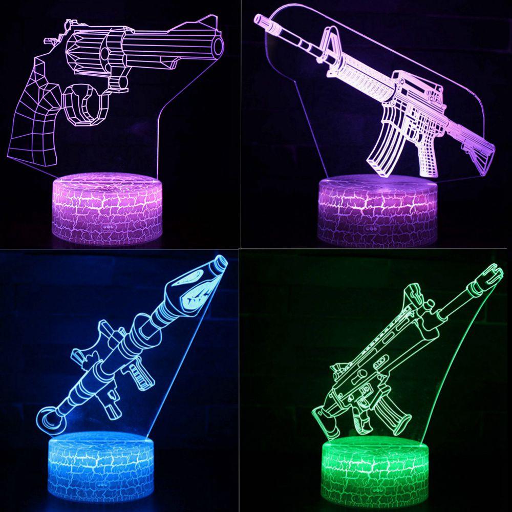 Machine Gun Pistol Model LED 3D Illusion Visual Night Light Creative Bedroom Table Decoration Novelty Lamp Gift Souvenir