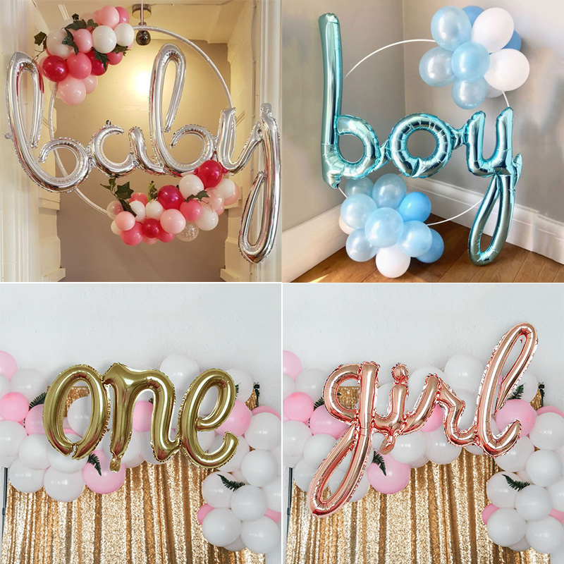 Baby Shower Letter Balloons.Us 1 15 26 Off Weigao 16 40inch Boy Girl Baby One Love Letter Balloons Foil Balloons Baby Shower Girl Birthday Party Air Ballons Party Ballon In