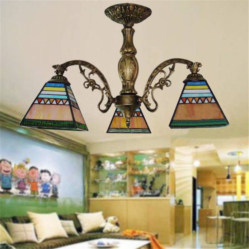 Tiffany Style  Stained Glass Pendant Lamps Spanish Romantic  3 Lights Living Room Lamps  Corridor Light Bedroom Lamp 3 heads pendant lamps dining room glass pendant light living room lights bedroom pendant lamps iron lamp fg552