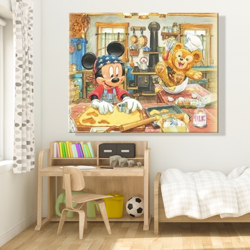 Diy paints by numbers picture painting by numbers with kits Mickey Mouse Children's room decorative hanging pictures Amusing