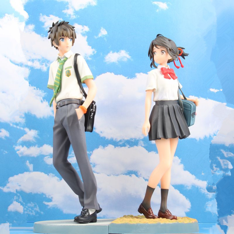 22-23CM 2 pçs/lote pvc Japonês anime figur kimino Miyamizu Mitsuha seu nome na wa Tachibana Taki modelo figura de ação