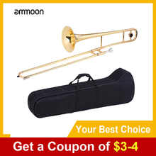 ammoon Alto Trombone Brass Gold Lacquer Wind Instrument Bb Tone B flat with Cupronickel Mouthpiece Cleaning Stick Case
