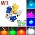 10 Unids 7 colores Coche 12 V B8.5d/BX8.5d/BAX10d 1SMD 5050 Gauge Dashboard LED Lámpara de Luz Interior # J-4237