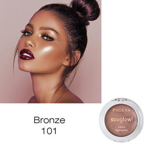 1PC 8Colors PHOERA Creamy Highlighter Illuminator Shimmer Contouring Makeup Highlight Bronzer Brighten Face Glow Cosmetic TSLM2