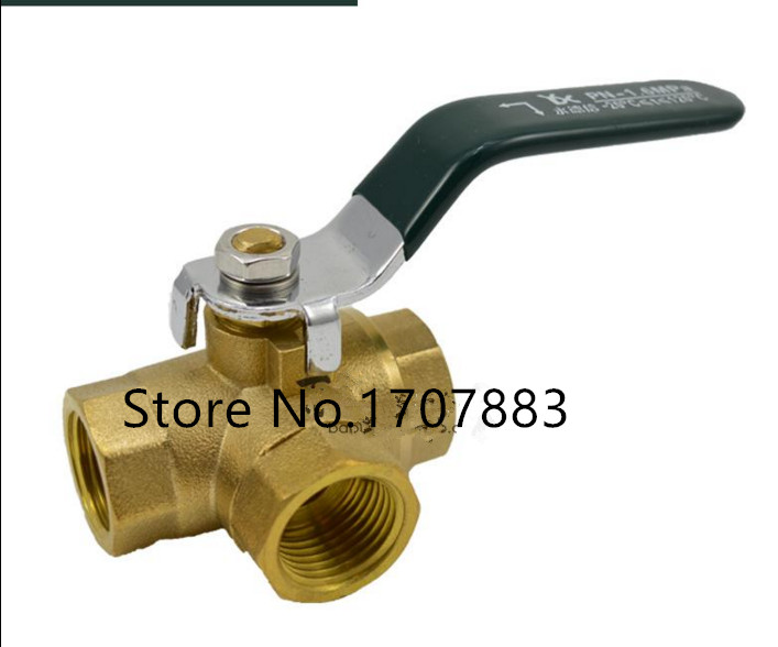 L Type L-Port DN10 3/8BSPP Female Connection Full Ports Brass Tee Ball Valve Three Way Pipe Fittings Handle Locking Leakproof female to female f f 1 2 pt threaded yellow lever handle brass ball valve