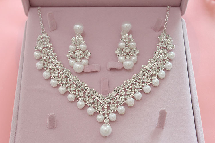 Fashion Pearl Wedding Bridal Jewelry Sets For Bride Women Pageant Prom Bijoux Necklace Earring Wedding Jewelry Accessories 4