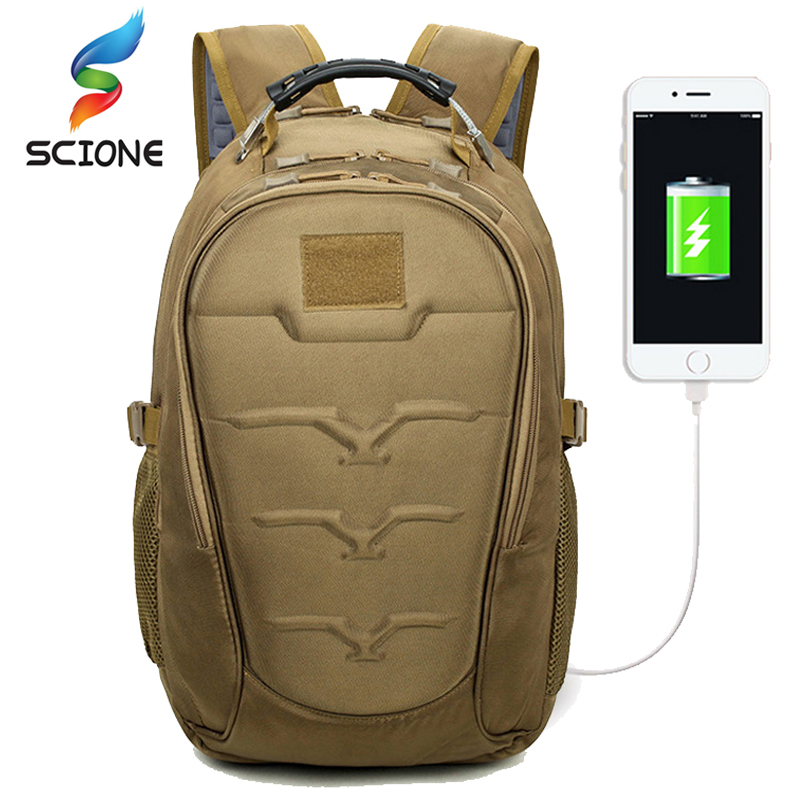 Hot Outdoor Tactical Military Backpacks 40L Molle High-Capacity USB Charging Bags MutiFunction Climbing Rucksack For Men Women