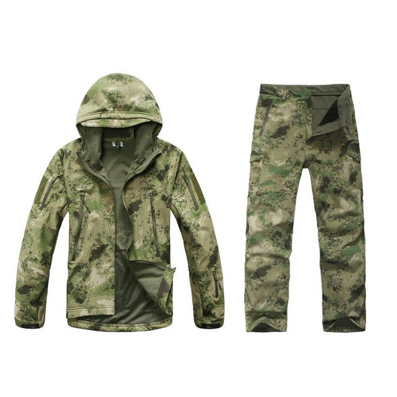 Outdoors Camping Jacket Set Tactical Military Camouflage Hunting Jacket +Pants Fishing Clothing hunting clothing set tad softshell military outdoors jacket army coat multicam camping jackets jacket pants suit