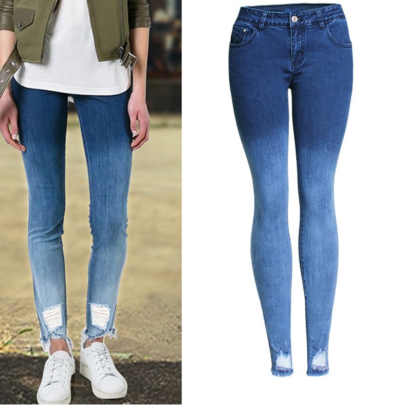 Fashion Women Gradient Blue Denim Jeans Trousers Ripped Bleached Washed Stretch Pencil Pants Female Denim Jeans Pants Plus Size new fashion suspender jeans overalls trousers denim female straight dark blue washed women pants jumpersuit rompers