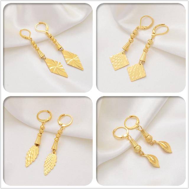 Anniyo Màu Vàng Lá Bông Tai cho Người Phụ Nữ Bạn Gái Trang Sức Quà Tặng Sinh Nhật Hawaii Bông Tai Trang Sức #017107