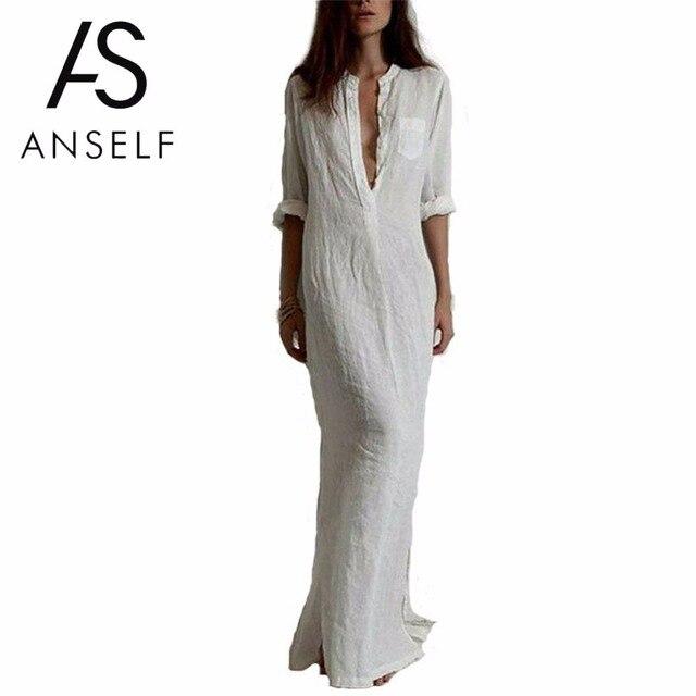 Anself 5XL Мода Осень Повседневное длинное платье Для женщин V Средства ухода за кожей шеи с длинным рукавом пляжное платье плюс Размеры Разделение Boho Платья для женщин Vestidos