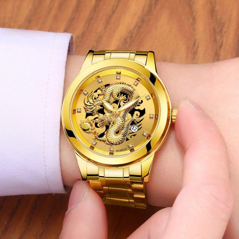 Men's Luxury Quartz Watch Casual Waterproof Gold Dragon Full Steel Sport Wrist Watch 1