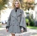 Новый Серый шерсть & смеси женщины верхней одежды пальто Осень зима мода длинный мыс пончо плащ Негабаритных британский стиль мантии