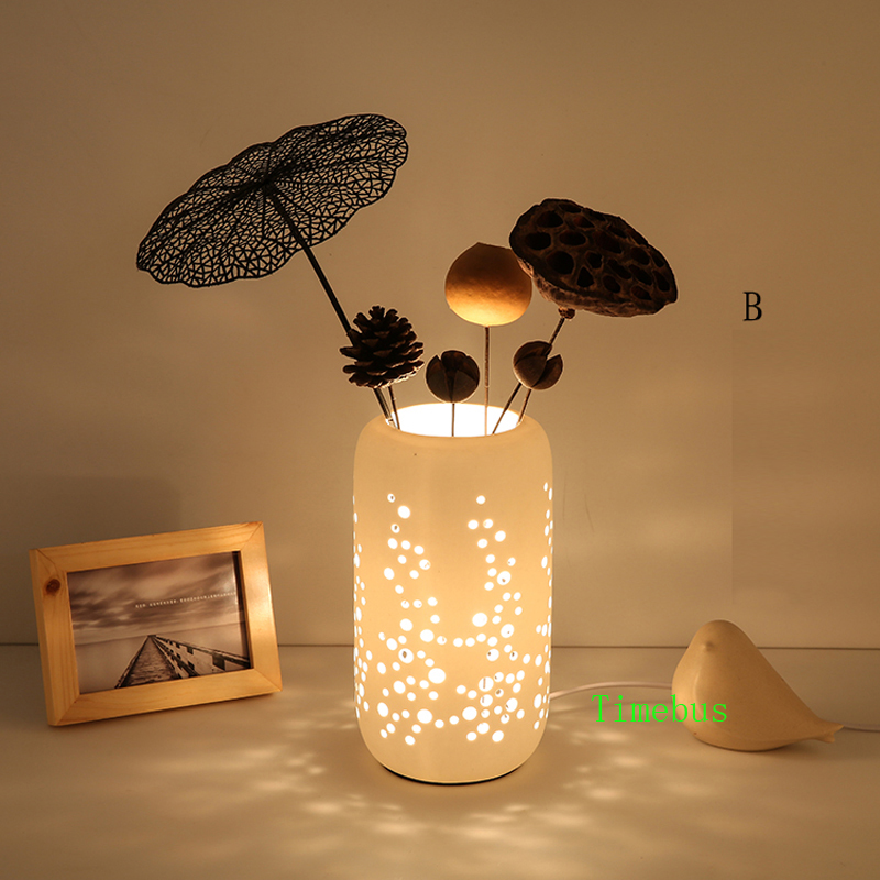 2019 Creative Desk Lamp Fashion Ceramic Table Lamp Romantic Bedroom Flower  Arranging Desk Lamp Bedroom Living Room Study Led Desk Lights From ...