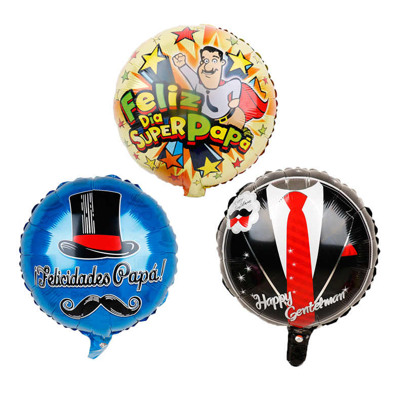 5pcs 18inch Spanish Happy Father's Day Helium Globos Feliz Dia Super Papa Foil Balloons father mother Party Decoration Baloes