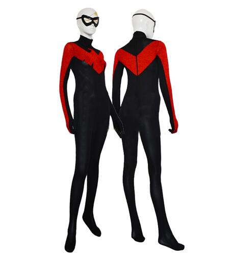 Special price! Black & red color Eagle combination Zentai Catsuit Lycra Shiny clothing