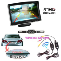2017 5 TFT 800 x 480 Hd Monitor & Wireless Car Rear View System Backup Reverse Camera Kit Night Vision license plate camera Kit