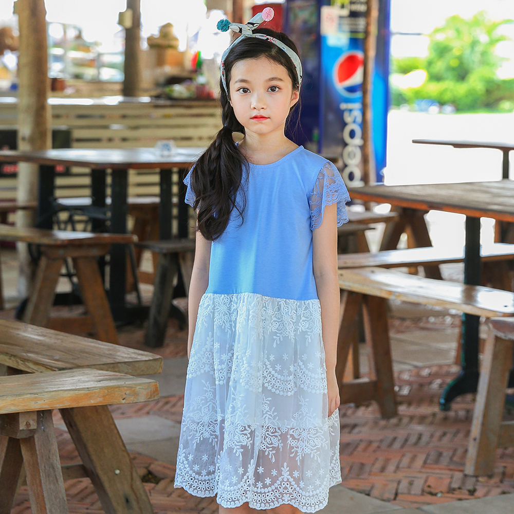 B-S78 New Fashion Spring Girls Casual Dresses Summer Short Sleeve Princess Dress 5-14T Teenager Kids Solid Color Lace Dress
