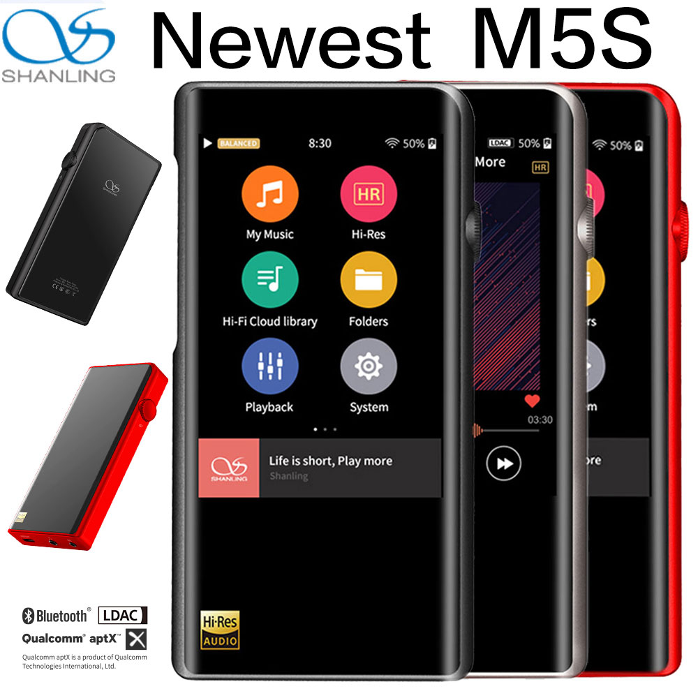 Shanling M5S Bluetooth MP3 Lettore WiFi Apt-X Senza Perdita di Lettori di Musica Portatili Retina DOP DSD256 Hi-Res Audio equilibrato