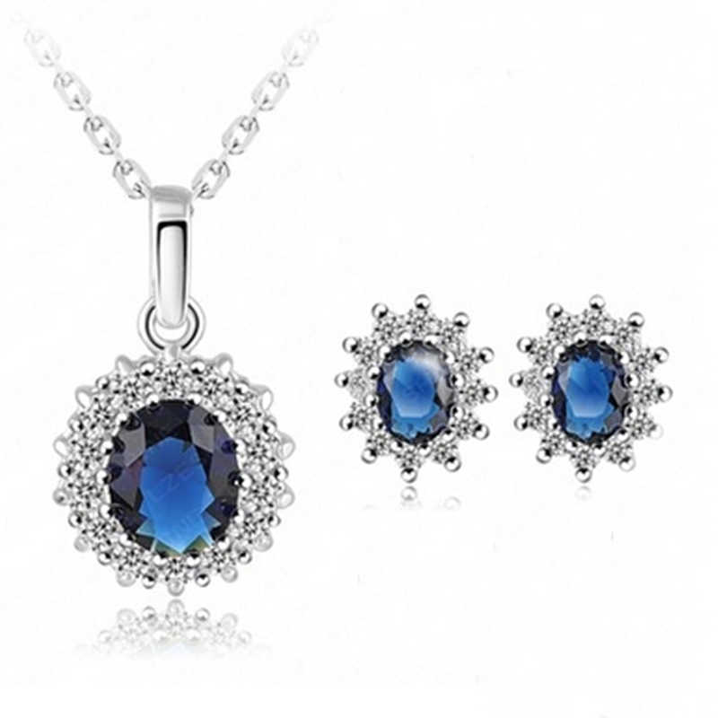 Fashion Luxury White Oval Blue Crystal Pendant Silver Color Chain Necklace Earrings Jewelry Set for Women Banquet Bride Wedding