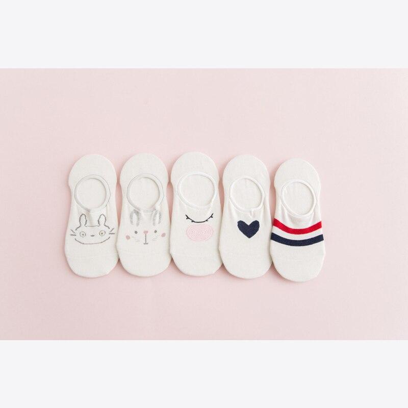 5 Pair/set Summer No Show Boat Socks Silicone Non Slip Ankle Socks Women Invisible Short Socks Funny Cute Animal Print Socks