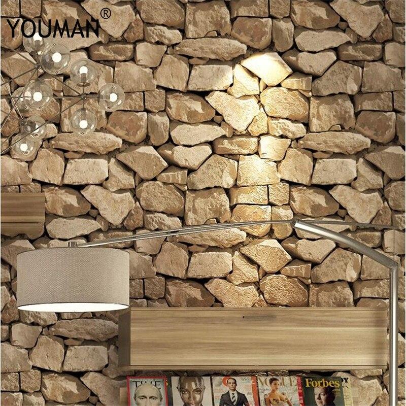 Wallpapers Youman 3D Retro Imitation Brick Personality Stone Pattern Living Room Wall Restaurant Waterproof Wallpaper Roll