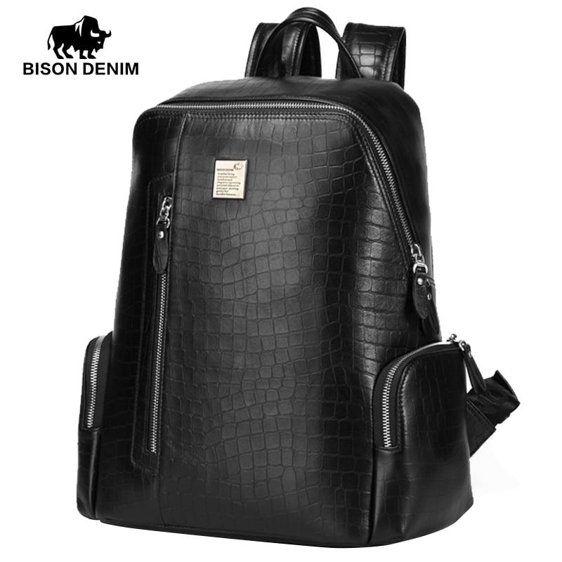 BISON DENIM Genuine Leather 14 Laptop Backpacks School Backpack Male Travel Backpack Cowhide Crocodile Pattern N2365-1B бинокль eschenbach bison 8 х 42 b
