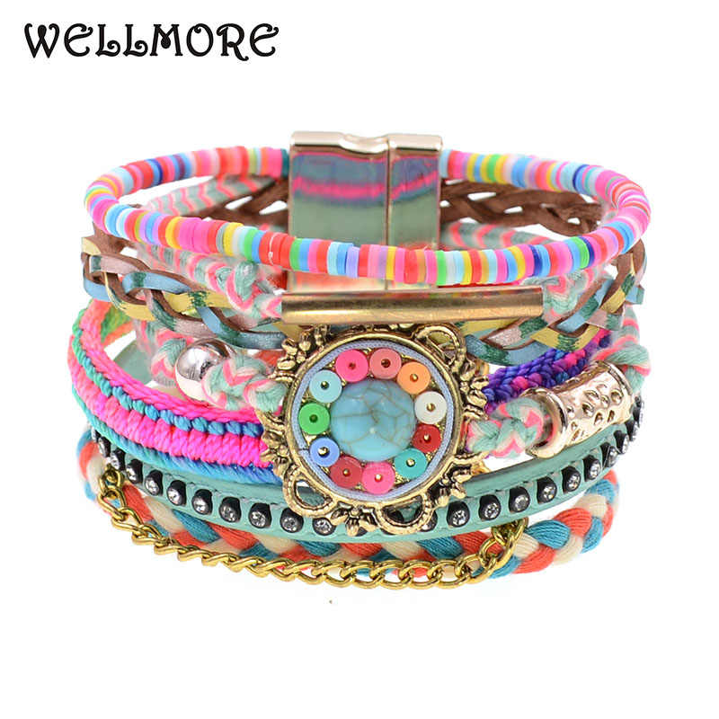 WELLMORE women bracelets Leather bracelets bohemia colorful beaded charm bracelets for women fashion jewelry drop shipping