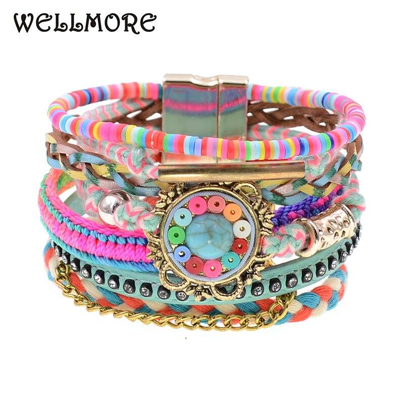 WELLMORE women bracelets Leather bracelets bohemia colorful beaded charm bracelets for women fashion jewelry drop shipping