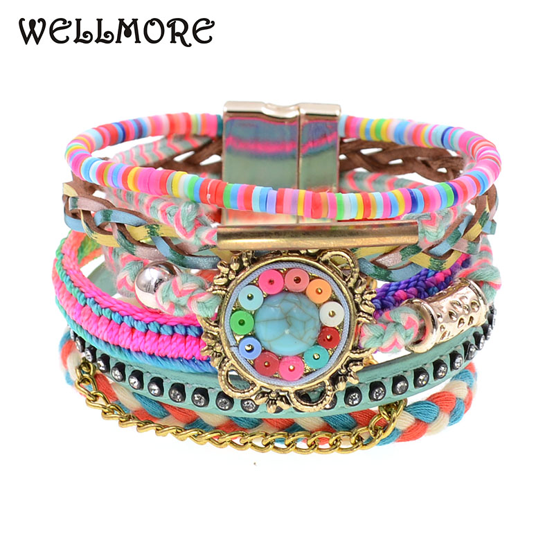 WELLMORE women bracelets Leather bohemia colorful beaded charm for fashion jewelry drop shipping