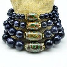 Yumten Diy Natural Aventurine Blue Bracelet Unisex Women's Trendy Bracelets Men 925 Sterling Agate Dzi beads For Jewelry Bag Diy
