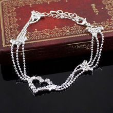 Fashion New Charm Silver Plated Bead Anklets for Women Heart Ankle Bracelet Chain Crystal Foot Jewelry Heart
