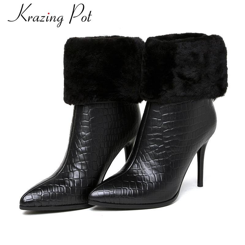 2018 fashion brand winter shoes black pointed toe women mid-calf boots genuine leather warm office lady high heel causal boots L