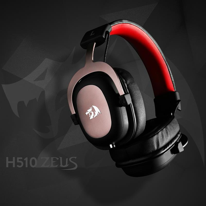 Redragon h510 zeus wired gaming headset 7.1 surround sound fone de ouvido gamer com microfone destacável para computador