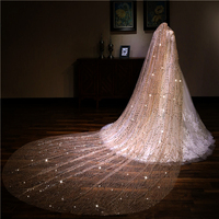 3.5 M Long Champagne Gold Wedding Accessories Bridal Veils 2018 STUNNING Bride Velo Comb Wide Train Brozing Sequin New Arrived
