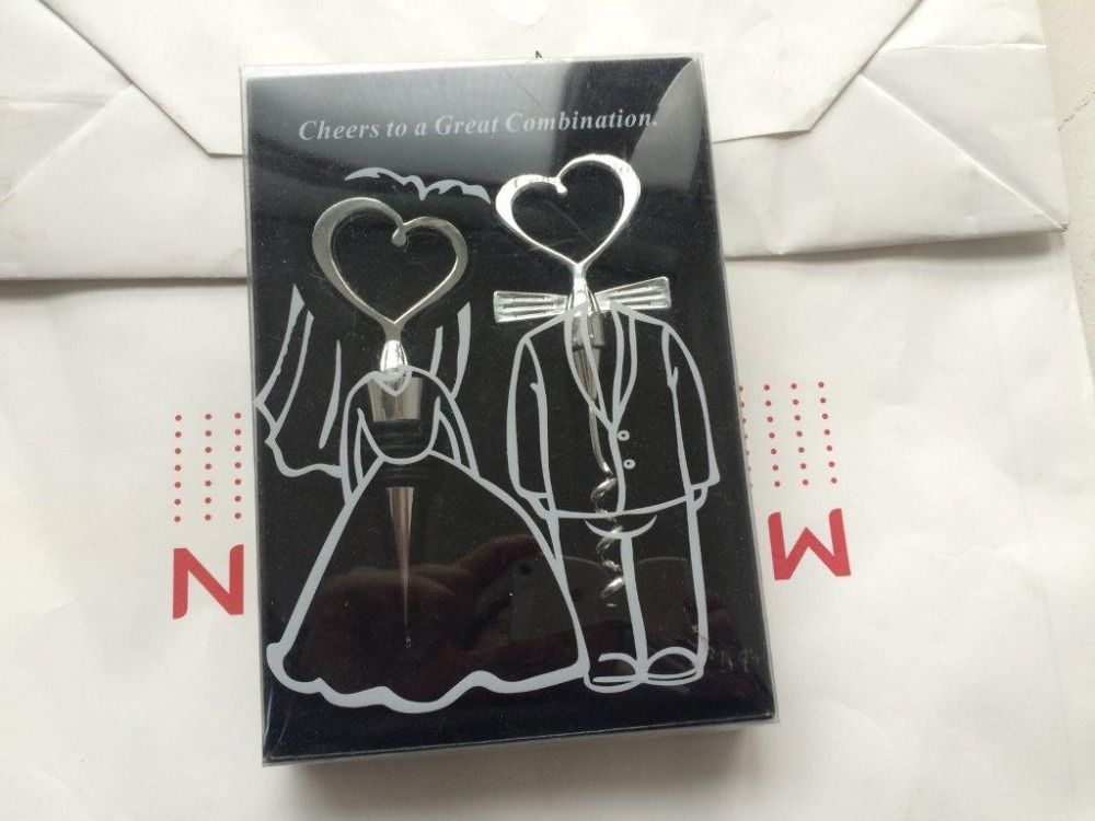 Free Shipping 100pcs lot Cheers to a Great Combination Groom Corkscrew Bride Wine Bottle Stopper Set