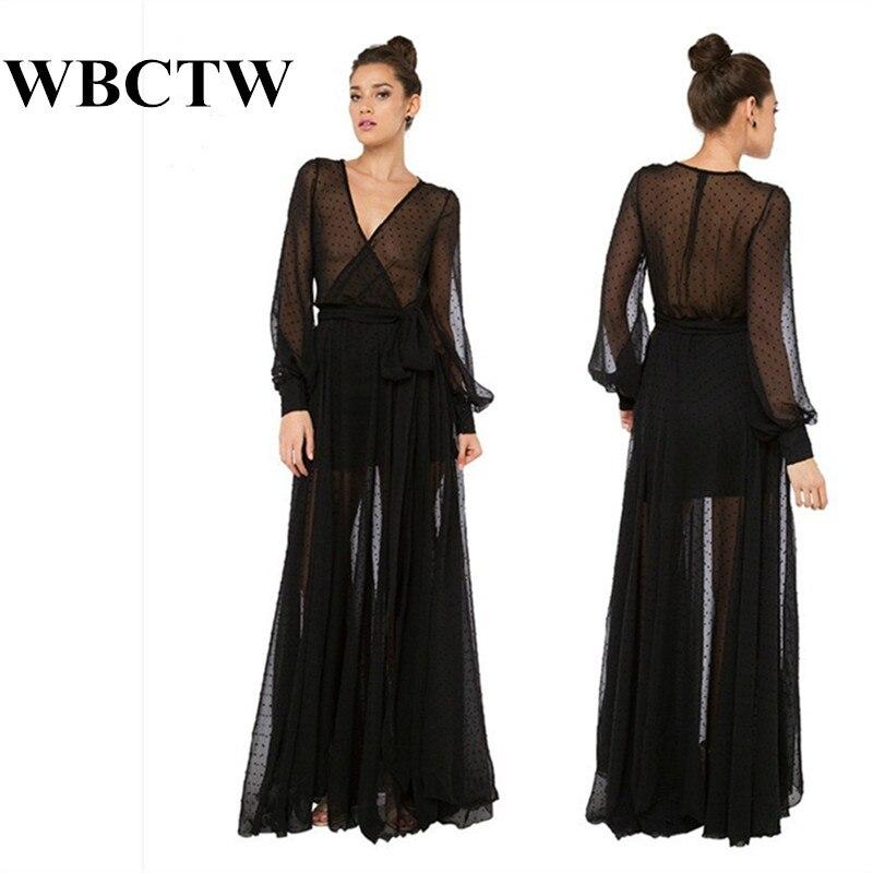 Beach Dress New 7xl Plus Size Deep V Neck Long Sleeve Mesh Dress Dot