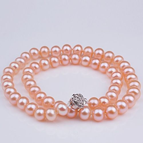 925 silver real natural big Hot selling for women sterling-silver-jewelry Natural AAA+ 8-9mm Pink Akoya Pearl necklace 17 Long925 silver real natural big Hot selling for women sterling-silver-jewelry Natural AAA+ 8-9mm Pink Akoya Pearl necklace 17 Long