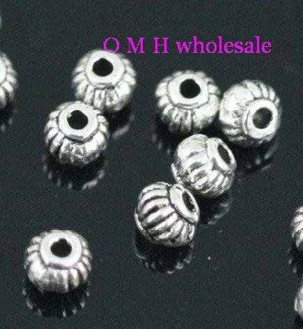 OMH Wholesale Kapal 40Pcs Tibet Perak Spacer Beads Perhiasan Manik-manik Logam 5X4mm ZL156