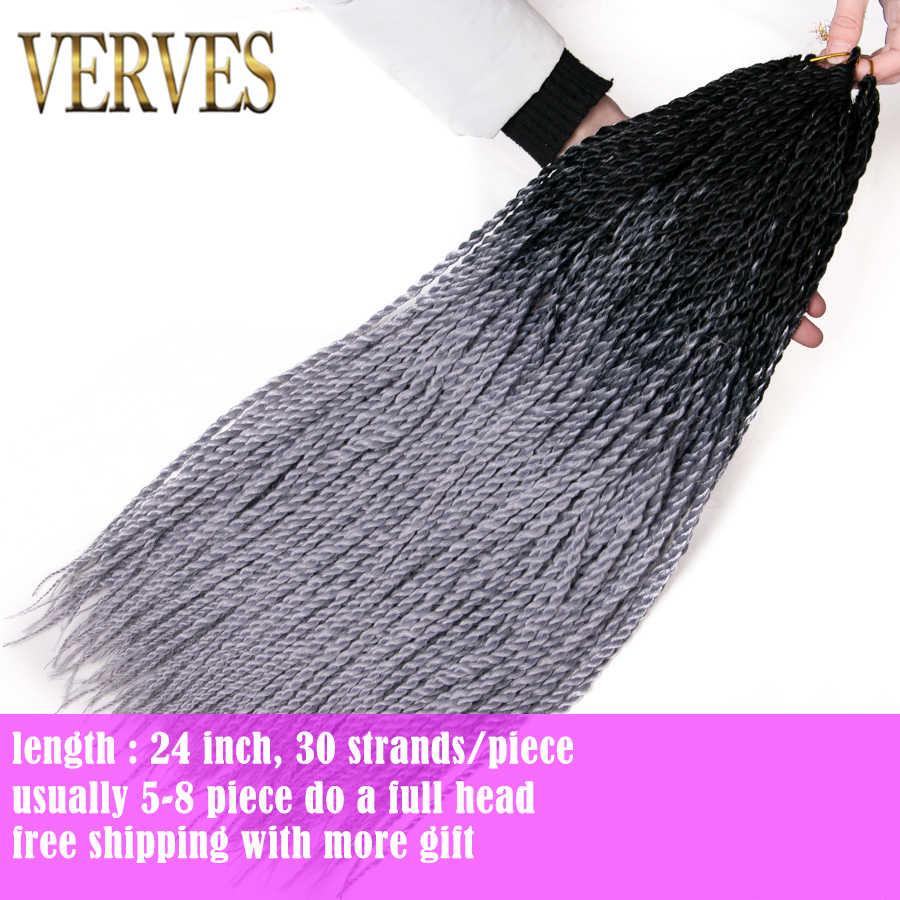 VERVES 24 дюймов Омбре Сенегальские вьющиеся волосы 30 корней/упаковка синтетические косички для наращивания плетение волос для женщин серый, bonde, розовый, коричневый