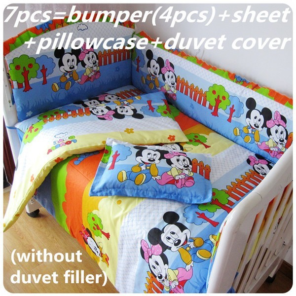 Discount! 6/7pcs Mickey Mouse  baby bedding set bumper crib bedding set cotton bumper curtain baby cot sets,120*60/120*70cm