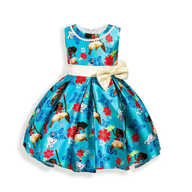 Newest Baby girls Bow dresses Princess dress Children's clothing cartoon movie Moana birthday party dress High quality