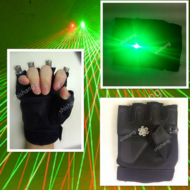 ST05-1 Con La palma luce 3 rosso 1 teste del laser laser verde guanti colorati 4 pcs teste guanti laser Della Discoteca del dj sala da ballo costumi di danza